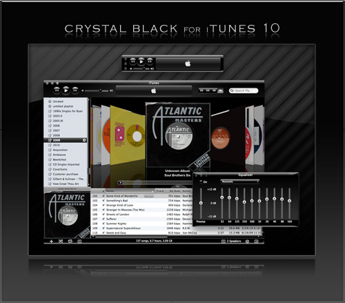 Preview of Crystal Black Theme for iTunes 10