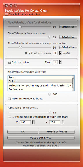 SetAlphaValue for Crystal Clear Preferences Window