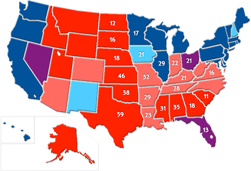 Map 2: Red and Blue States by Presidential Election Results, 1996-2008