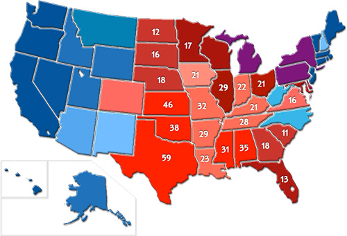 Map 3: Red and Blue States by Filtering Maps 1 and 2