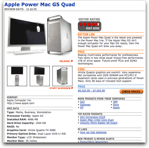 PC Magazine's Summary Review of PowerMac G5 Quad
