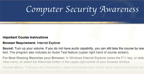 This computer security online training requires Internet Explorer.