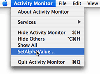 SetAlphaValue Menu Item in Activity Monitor