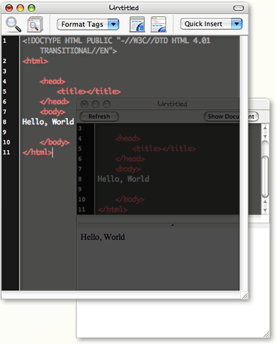 Taco HTML Editor Window and Preview