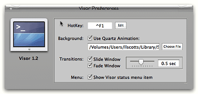 Visor's preference pane is where all the fun begins!